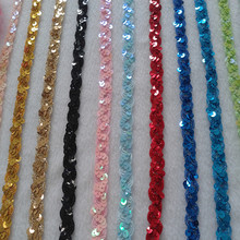 15 Yard / lot Wave paillette laciness ribbon beads 1.5CM clothes curtain accessories handmade diy lace trim lace fabric