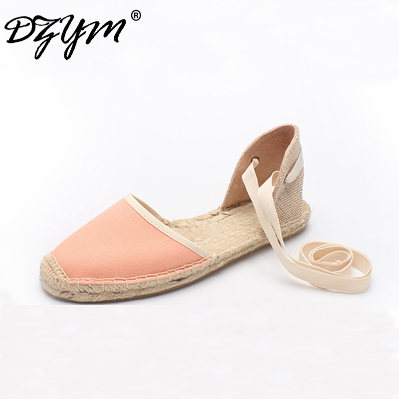 DZYM 2018 New Classic Bowtie Canvas Espadrille Women Ballet Flats Elastic Band Straw Linen Shoes Stripe Gingham Zapatos Mujer<br>
