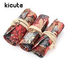 Kicute Vintage 36/48/72 Holes Colorful Leaves Canvas Roll Up Pencil Case Sketching Bag Case Holder Storage Pouch School Supply