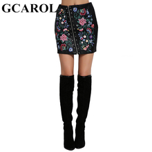 GCAROL Euro Style Embroidered Floral Faux Leather Women Skirt Rivets Asymmetric Zipper Mini Sexy PU Skirt For 4 Season