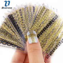 24 Pcs Nail Stickers 3D Nail Art Sticker Decal Manicure Gold/Silver Stripe Love Heart Glitter Decorations For Nails Accessories(China)