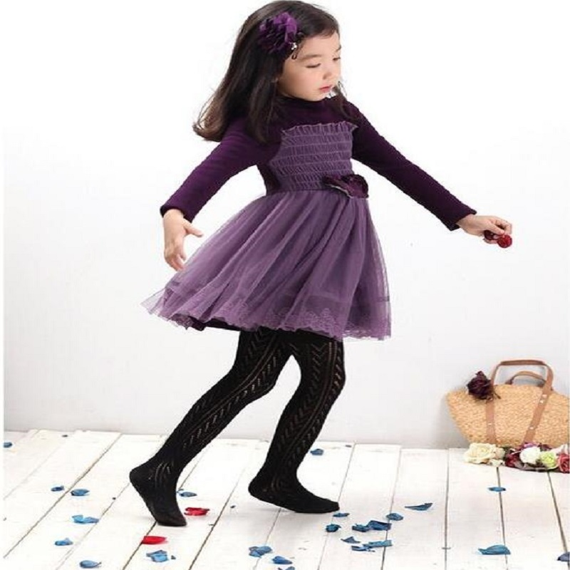 NICBUY Girls autumn winter Colour lace gauze long sleeve   dress, 3 color  dress 123<br>