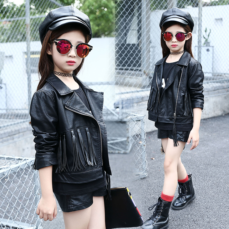 Childrens clothing female child leather clothing spring and autumn black tassel cardigan trend design child short shirt collar<br>
