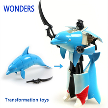 New arrival, Christmas gift plastic Transformer fish Robot dolphin, shark Model for children collection(China)