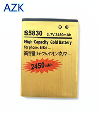 AZK Gold Battery Batteries For SAMSUNG Galaxy Ace Gio Pro S5830 S7510 S5660 S5670 i579 i619 i569 S5830i S5838 S7500 EB494358VU