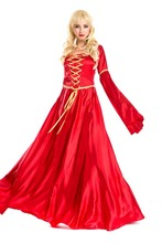 Halloween long dress For Women the United Kingdom ancients Queen Red evening dress Carnival Fantasia Adult Fairy Cosplay Costume