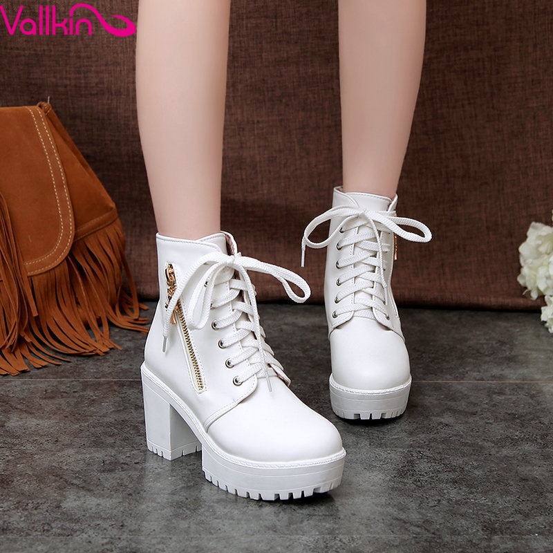 VALLKIN 2015 winter popular women boots square high heels PU leather ankle boots round toe platform ladies comfortable shoes<br>