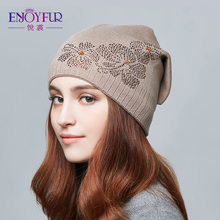 ENJOYFUR Floral Rhinestones Cotton Knitted Hat Female Warm Thick Autumn Winter Hats Women's Beanies Youth Gravity Falls Cap Girl