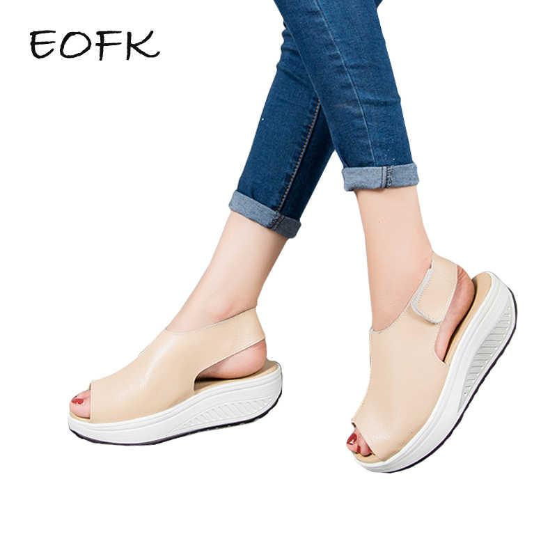 2d0dcd52cda1 EOFK лето Для женщин удобные сандалии на платформе Для женщин Босоножки На  Танкетке Удобная женская