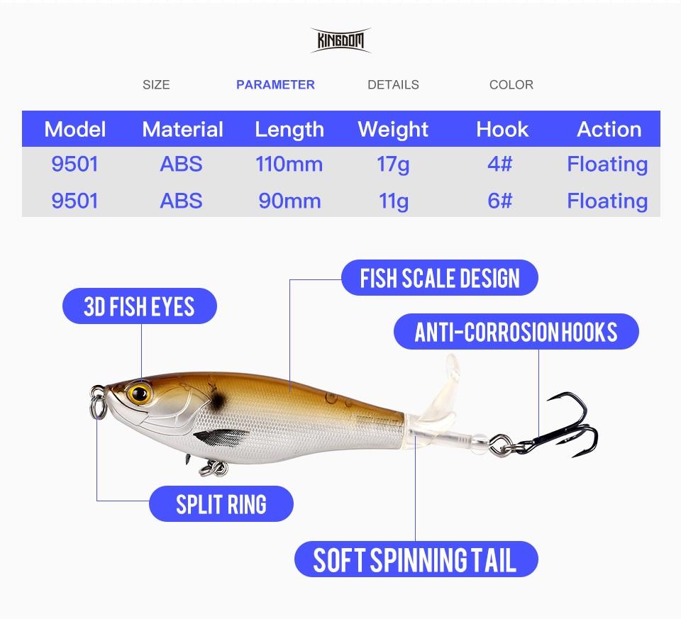 Kingdom 2019 New Whopper Plopper Fishing Lure 10cm 12cm Topwater Hard Baits Popper Soft Rotating Tail Wobblers Artificial Bait (3)