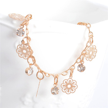 SHUANGR New Arrival Flower charm anklet for Women Gold-Color Bracelet on a leg fashion foot chian girl ankle love jewelry