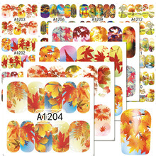 1Sheets NEW Nail Art Water Transfer Stickers Autumn Maple Leaf Mixed Beauty Full Wraps Watermark Manicure Decals LAA1201-1212