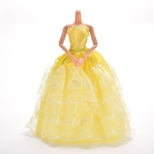 Princess Dress Gown Yellow Dress For Barbie Doll Dress Girl Pretend Play Baby Girl Toy Gift Doll Accessories(China)