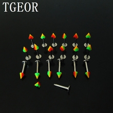 hot wholesale piercing body jewelry 100pcs 1.0*8*3mm printed lip ring rasta reggae spike cone labret piercing free shipping