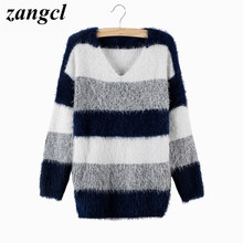 Zangcl Women's Fashion Striped Pullover Crochet Sweater Casual Plus Size Tops Knitted Jumper For Handsome Maternity Sweaters
