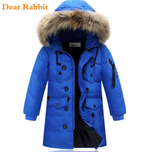 High quality 2017 boy's long for youth children cuhk more down jacket boy winter childrens fur coat boys parka kids clothes 587
