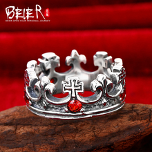 Beier 925 silver sterling jewelry 2015 white and red colour irregular cross figure gem ring anchor an crown ring D0358(China)