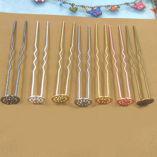 10pcs 12mm Hair Jewelry Settings Cabochon Base Blank Bezel Trays for U Shape Hairpins Barrettes Retro Head Wear DIY(China)