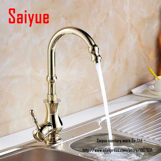 Luxury Euro Style Rose Gold Kitchen Faucet Rotatable Single Handle Centerset Mixer Tap torneira cozinha<br><br>Aliexpress