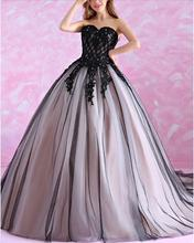 2017 Ball Gown Black Gothic Wedding Dresses Sweetheart Beaded Lace Appliques Corset Back Princess Non White Vintage Bridal Gowns