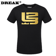 2016 summer new Cavalier LeBron James Men's cotton T-shirt Foil stamping bodybuilding camisa masculina maillot de basket
