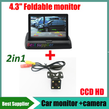 Auto Parking Assistance System 4.3 inch Digital TFT LCD Mirror Car Monitor + 4LED CCD HD Car Rear view parking backup Camera(China)