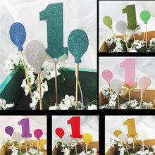 Boy Girl I AM ONE Year Gold 1 Anniversary Paper Supplies First Birthday Cupcake Toppers 1st Party Decorations(China)