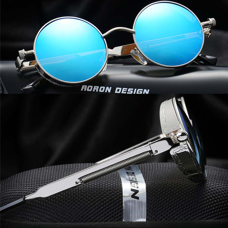 New Brand Gothic Steampunk Men Polarized Sunglasses Coating Mirrored Sunglasses Round Circle Sun Glasses Retro Vintage Eyewear<br><br>Aliexpress