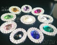 buttons !100pcs/lot 21*26m 36colors Double row rhinestone pearl button wedding embellishment headband DIY accessory