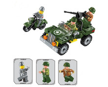 WWII Allied JEEP Chase German Scout Army Battle Model Building Blocks Toys for Children Compatible With lepin Brick