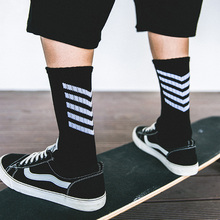 Street Style Hiphop Crew Socks Harajuku Fashion Hombre Designer Skateboard Socks High Quality Arrow Cotton Men's Sock