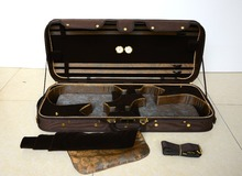 Strong&Sturdy 4/4 Full Size Wooden Double Violin Case Coffee Color
