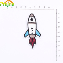 Rocket Funny Iron On Patch Applique Cute Car Embroidered Patches For Clothes Cartoon Slim Patch Stickers Jacket Patches Iron
