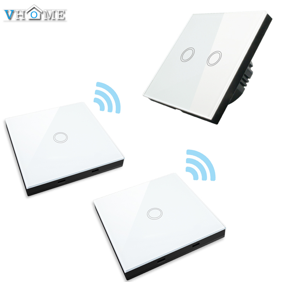 Vhome EU/UK 2gang 2  RF 433mhz smart home wall stickers remote control transmitter wall light touch switch crystal glass panel <br>