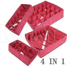 4pcs=1set  Fashion deep red Folding Storage Box Bag various Grid Pattern for Bra Underwear Necktie Sock Organizer Home Supplies