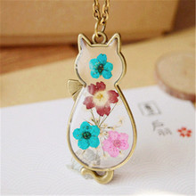 Natural Dried Flower Flat Cat Shape Epoxy Alloy Pendant Necklaces Cute Animal Pendant With Antique Bronze Frame For Woman
