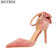 BIGTREE 2017  new  Suede Latest Shoes Women Pumps Spring Pointed Toe Basic Party Thin Buckle High Heels Bow Ladies Shoes