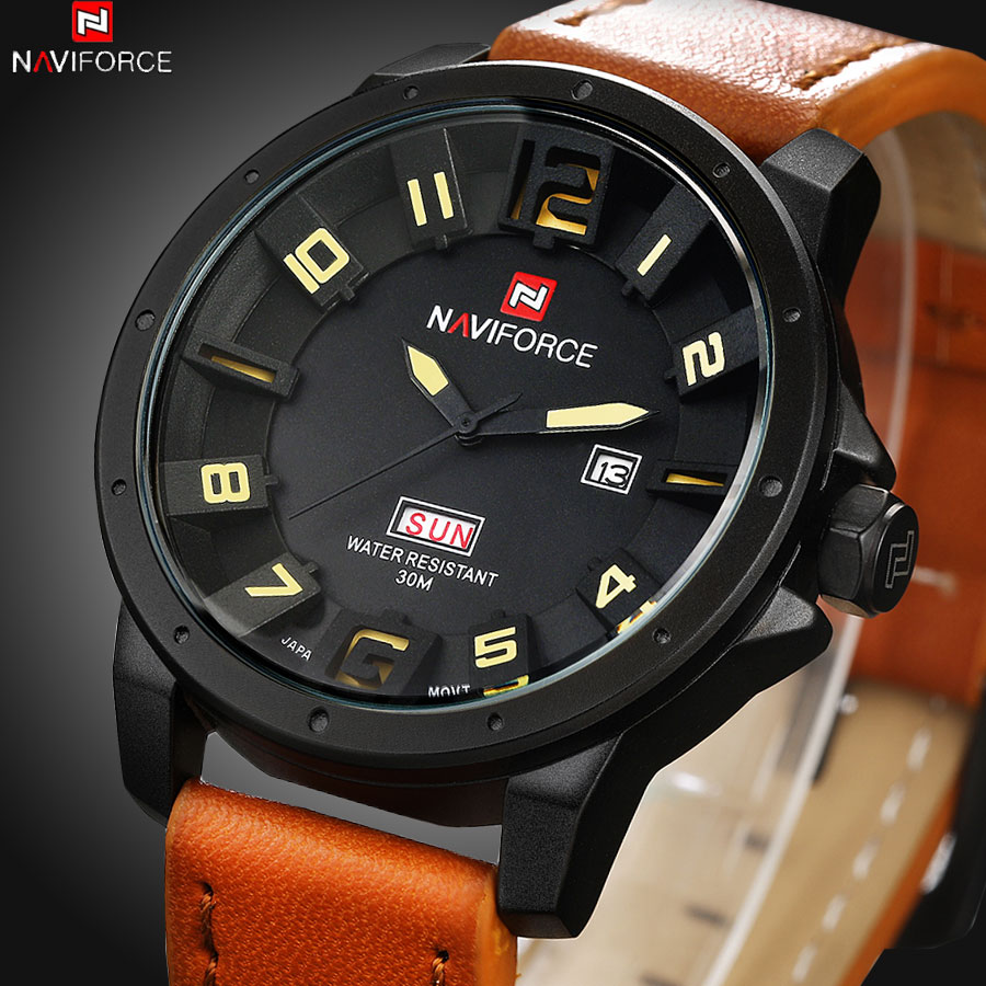 NAVIFORCE Luxury Brand Military Watches Men Quartz Analog 3D Face Leather Clock Man Sports Watches Army Watch Relogio Masculino<br><br>Aliexpress