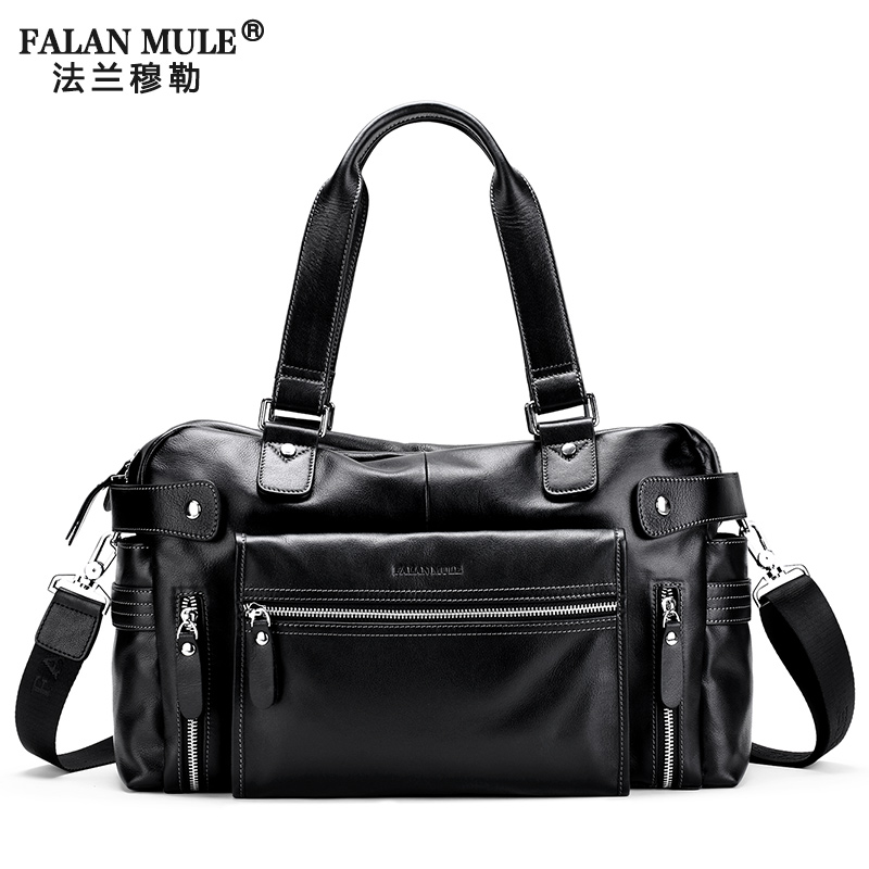 FALAN MULE Fashion Travel Bags Brand Shoulder Bag Men Casual Messenger Bags Soft Genuine Leather Men Tote Crossbody Bags Mens<br><br>Aliexpress