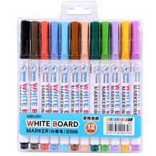 12 pcs/lot Deli Low-Odor Dry Erase Whiteboard Marker, Fine Point White Board Pens in 12 Different Colors Black, Blue, Red, Green(China)