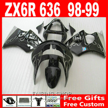 Buy Pop Fairing kit Kawasaki ZX6R 1998 1999 98 99 zx 6r Silver flame/black EMS free Fairings S30 for $344.10 in AliExpress store