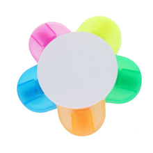 5 color highlighter pen marker pen stationery flower shape (pink, yellow, blue, green, orange)(China)