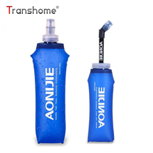 Transhome Folding Water Bottle 500ml Collapsible Water Bottle Outdoor Sport Food Grade Soft Silicone Hydration Bottles For Water(China)