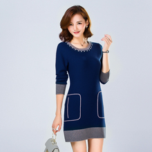 2016 new autumn and winter long knit dress ladies sweater Korean version of high quality 100% wool outer wear sweater dress