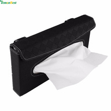 Home Car PU Leather Car-styling Tissue Box Case European High Grade Napkin Paper Haning Clip-up Type Car Sun Visor Tissue Box(China)
