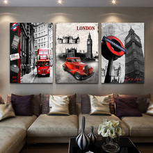 Red Bus Canvas Print 3 Panel London Street Painting Picture European Style Art For Setting Room Soft wall Decoration No Frame