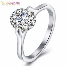Yunkingdom oval CZ engagement wedding rings for women retro style steel ring wholesale /retail/dropshipping K5071