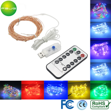 10pcs/lot Starry Led String Light 10M 100 Leds Copper Wire Xmas Lights Waterproof IP68 Controller Dimming  8 Modes USB DC5V Room