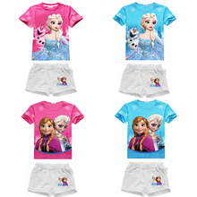 2017 NEW Snow Queen Baby Girl Clothing Set Fever Elsa Costume Princess Anna Elza Clothes Shirt + Pants Children Sport Suits