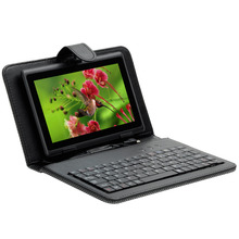 For 7 inch Tablet PC Micro USB Keyboard Woven Pattern Case With Stylus Pen